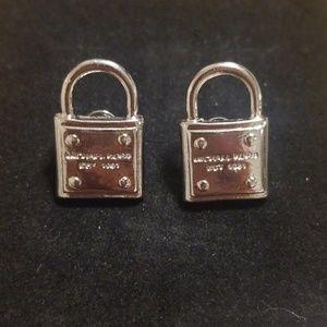 Michael Kors EST Silver Taken Lock Stud Earrings